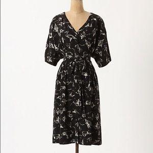 Moulinette Soeurs Origami Cranes Silk Kimono Dress